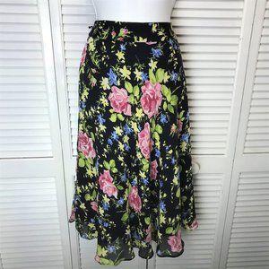 Jones NY silk chiffon floral skirt sz 8 Navy pink